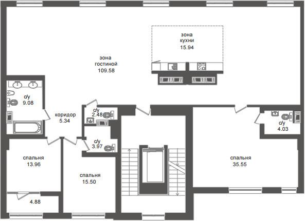 Планировка Четырёхкомнатная квартира (Евро) площадью 224.6 кв.м в ЖК «Приоритет»