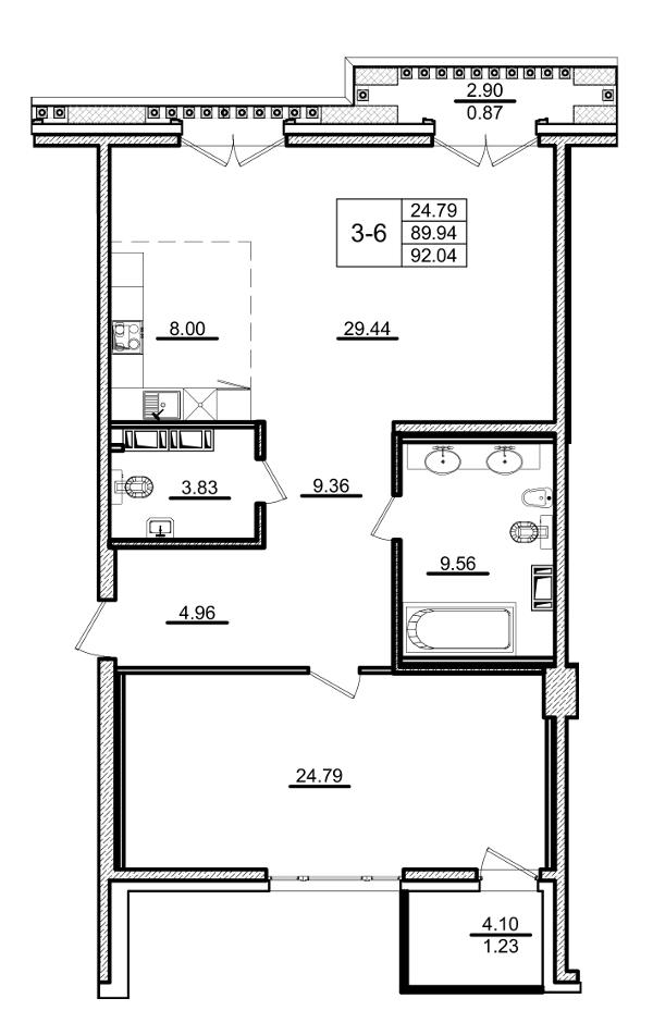 Планировка Однокомнатная квартира площадью 92.04 кв.м в ЖК «Приоритет»