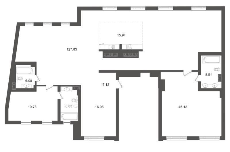 Планировка Двухкомнатная квартира площадью 261.92 кв.м в ЖК «Приоритет»