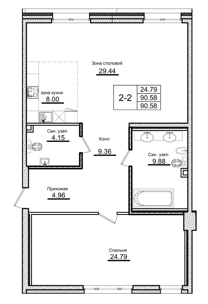 Планировка Однокомнатная квартира площадью 90.58 кв.м в ЖК «Приоритет»
