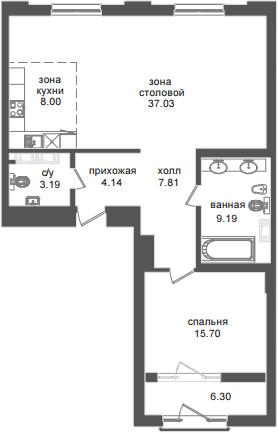 Планировка Двухкомнатная квартира (Евро) площадью 88.21 кв.м в ЖК «Приоритет»