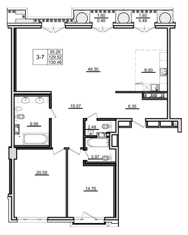 Планировка Двухкомнатная квартира площадью 130.48 кв.м в ЖК «Приоритет»