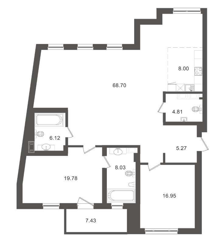 Планировка Двухкомнатная квартира площадью 139.89 кв.м в ЖК «Приоритет»