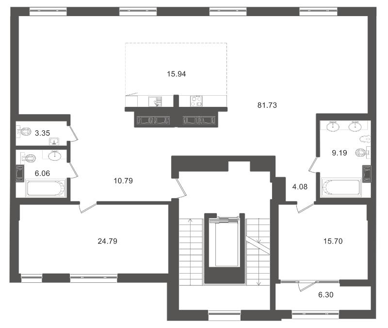 Планировка Двухкомнатная квартира площадью 180.41 кв.м в ЖК «Приоритет»