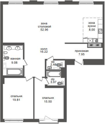 Планировка Трёхкомнатная квартира (Евро) площадью 135.97 кв.м в ЖК «Приоритет»