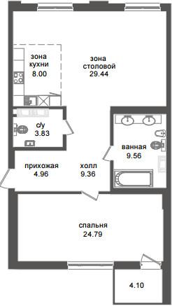 Планировка Двухкомнатная квартира (Евро) площадью 91.17 кв.м в ЖК «Приоритет»