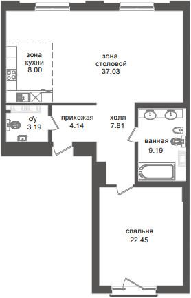 Планировка Двухкомнатная квартира (Евро) площадью 91.81 кв.м в ЖК «Приоритет»