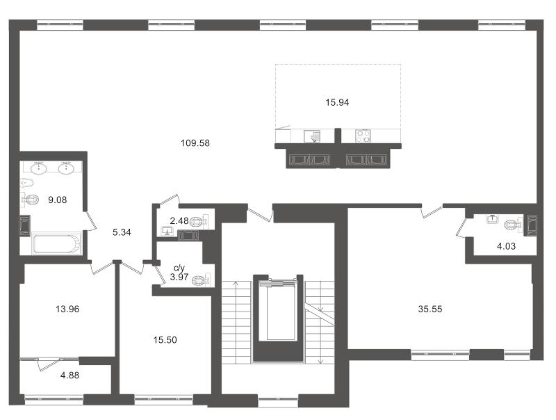 Планировка Трёхкомнатная квартира площадью 224.6 кв.м в ЖК «Приоритет»